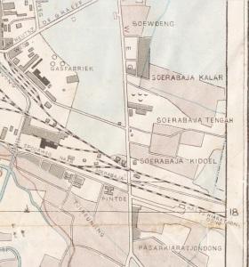 Babakan Surabaya pada peta Bandung tahun 1945